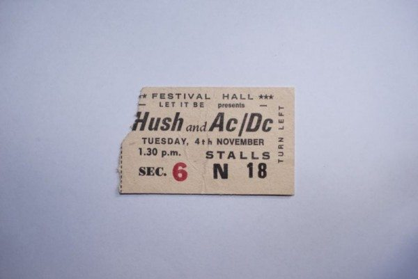 1975 ticket for AC/DC and Hush - priced at $1400.