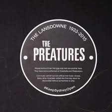 The Preatures plaque. Part of the #KeepSydneyOpen campaign on Twitter.
