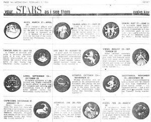 The Go-Set horoscope by Evelyn King.