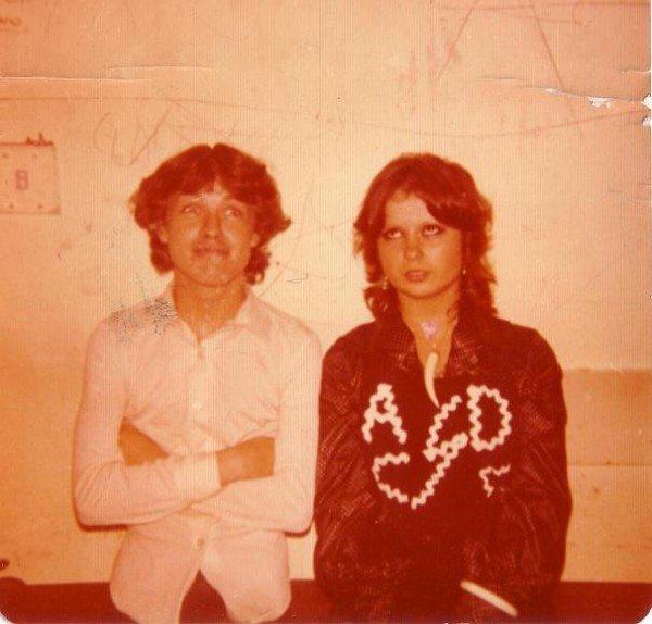 Angus Young and Vanda at The Hard Rock Cafe 1974. Copyright crowsgarage.com