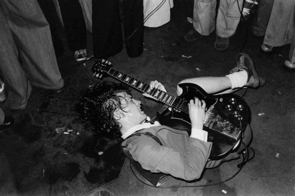 Angus Young at the Hard Rock Cafe. Andrew Wittner. Powerhouse Museum Sydney.