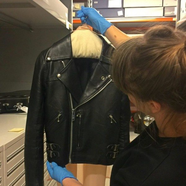 Curator at The Australian Music Vault with Bon's jacket.