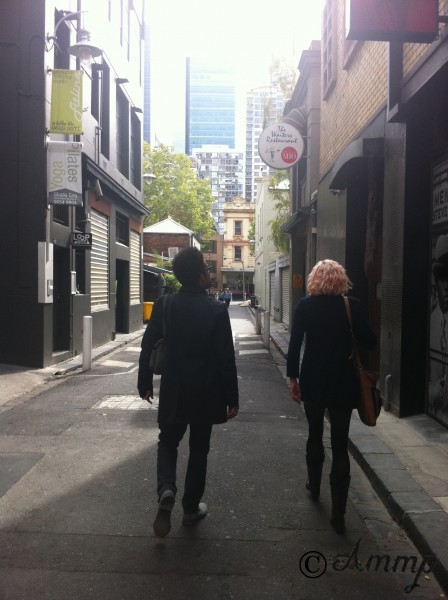 Last stage of a search for a laneway for Chrissy begins with Jenny Valentish, Charley Drayton
