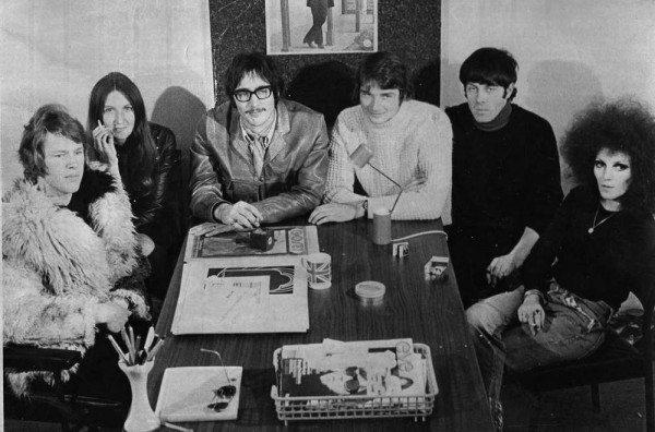 Wendy Saddington (far right) next to Ian 'Molly' Meldrum at Go-Set (SMH, Clinton Walker)