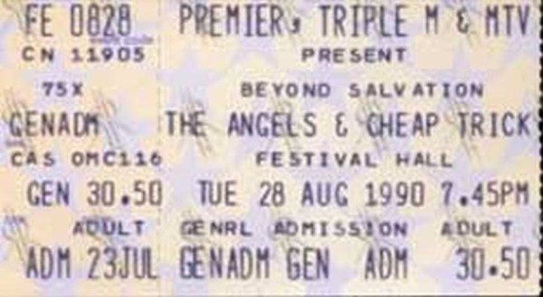 ANGELS-CHEAP-TRICK-Festival-Hall-Melbourne-28th-August-1990-Ticket-Stub